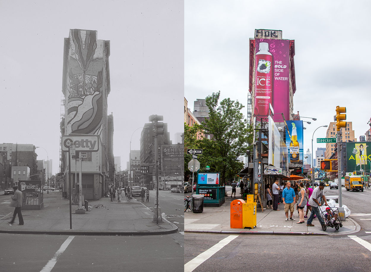 Similar to the famous Flatiron building on 23rd street this corner of Bleeker and Houston hasn't changed all that much in 30 years.