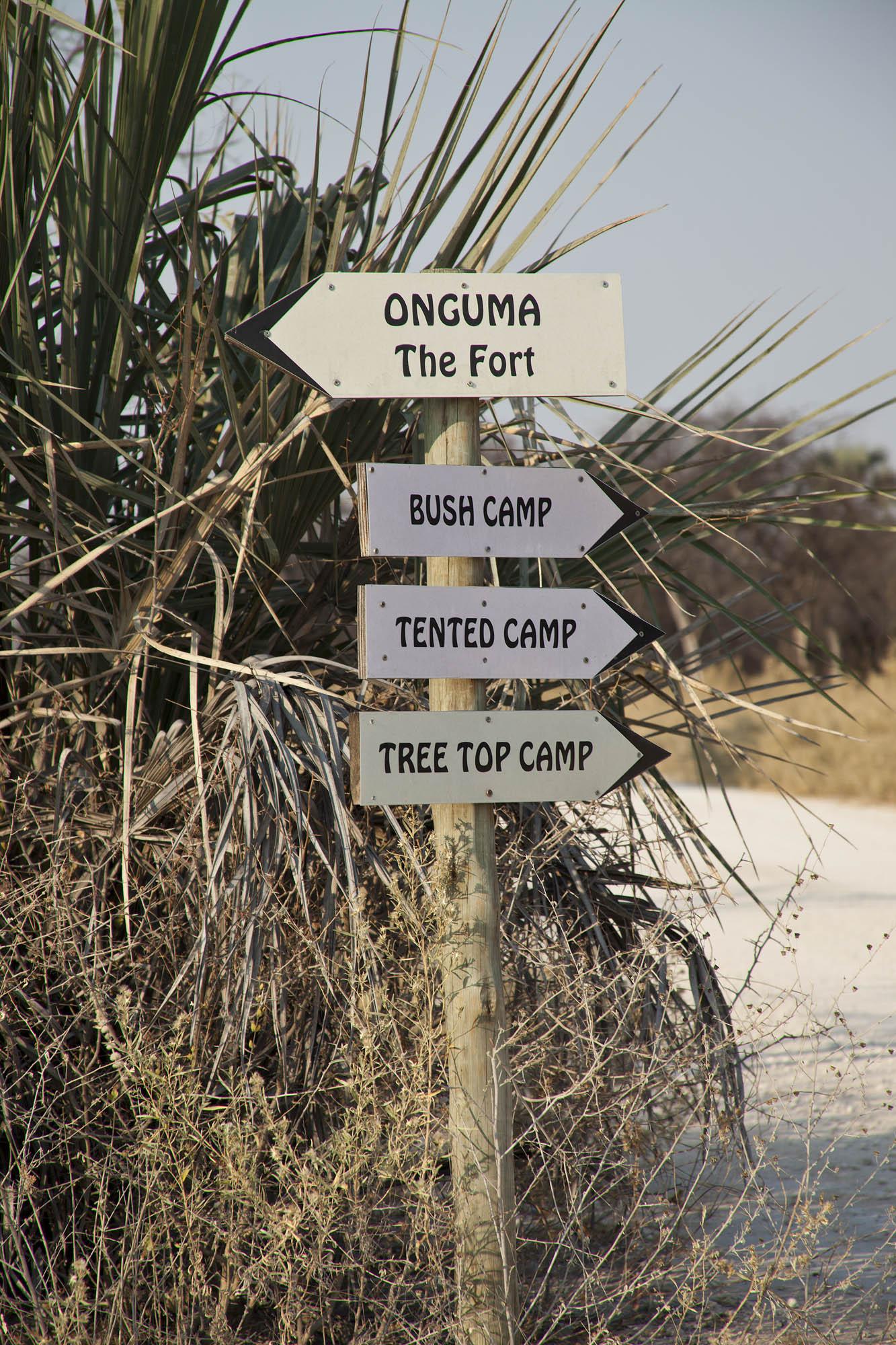 Onguma lodge signpost