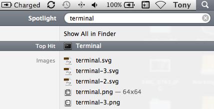 Search for Terminal in Spotligh