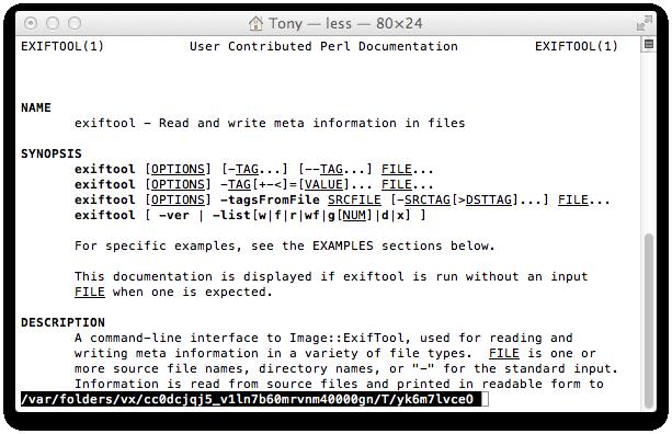 ExifTool Documentation