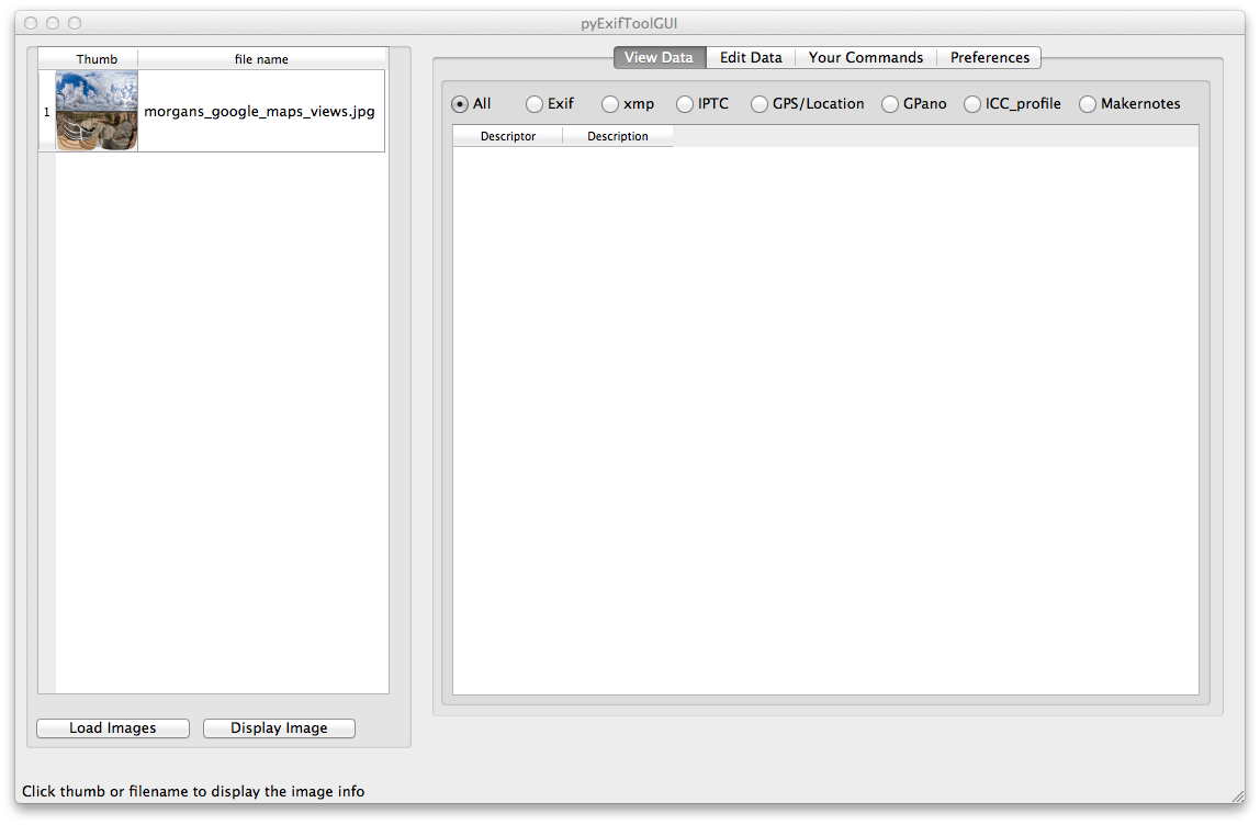 Equirectangular image loaded into pyExifToolGUI window