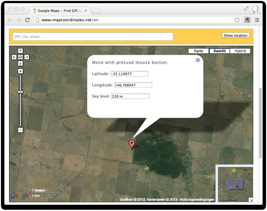 MapCoordinates.net window