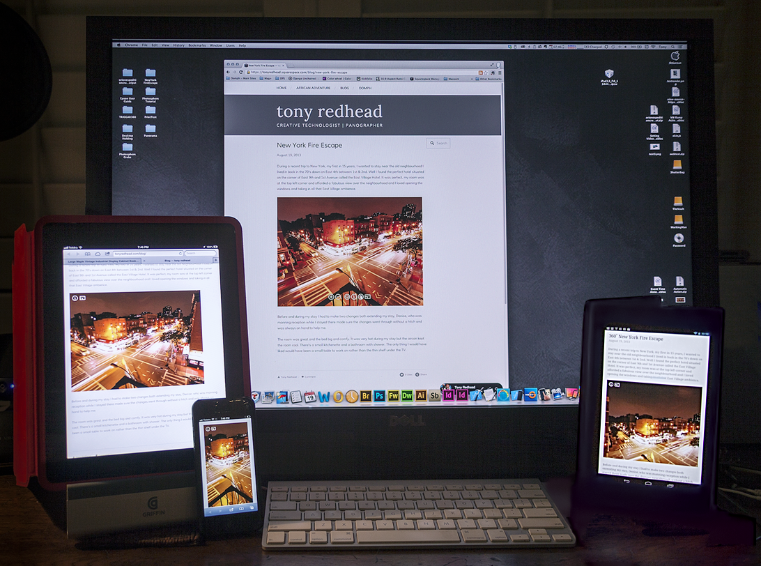 Squarespace blog with iFrame displaying 360˚ panorama, from Left to Right, on Safari on the iPad, Safari on the iPhone5,Google Chrome on the Desktop and Google Chrome on Nexus 7.