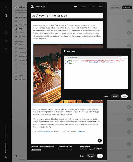 Creating a blog post in Squarespace