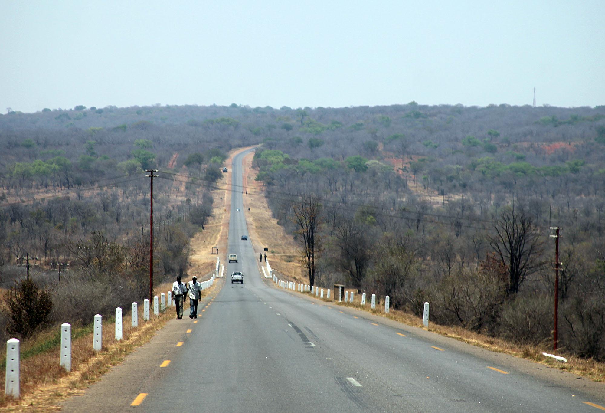 The road into Zimbabwe