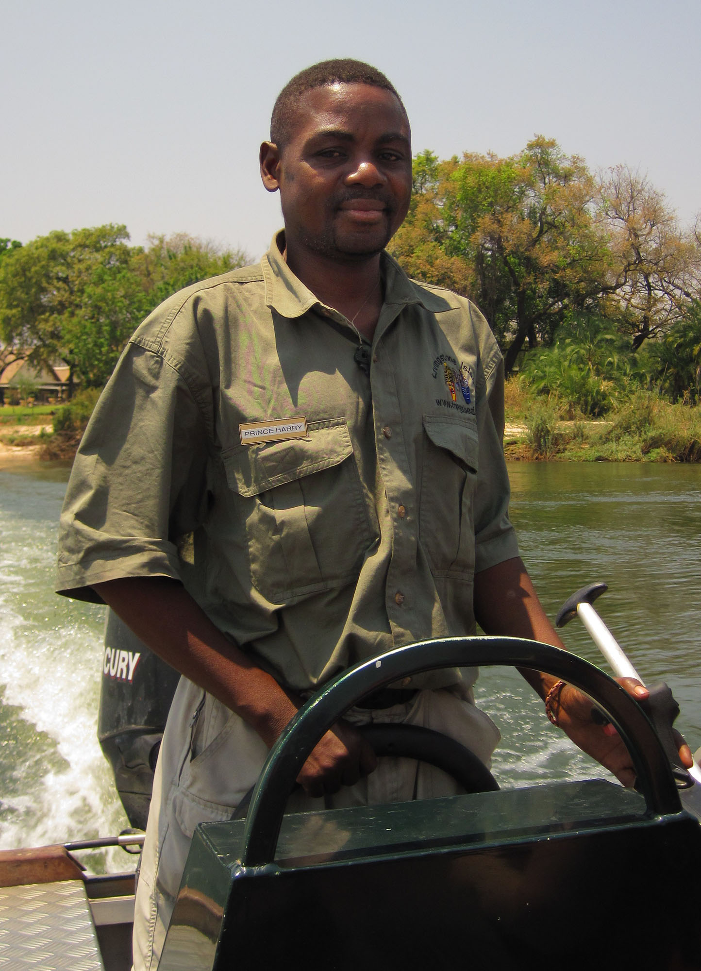 Our boat driver, Prince Harry