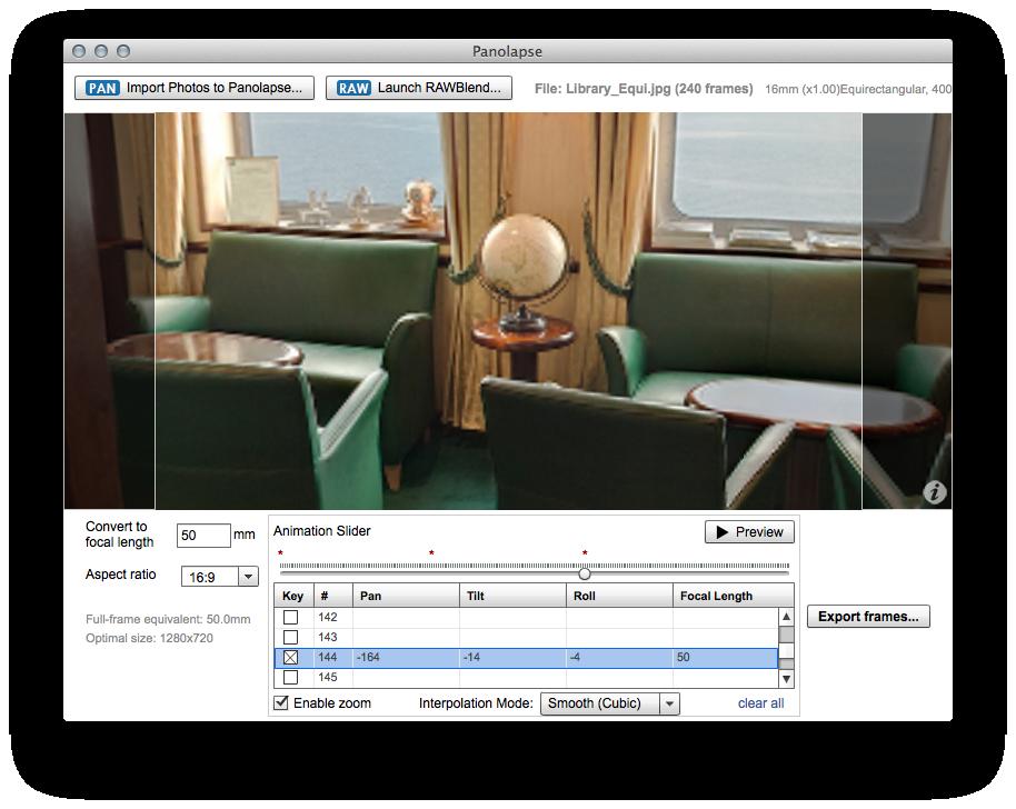 Set the pan, tilt, roll and focal length for frame #72