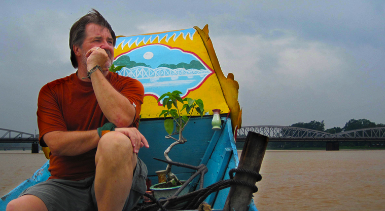 A pensive moment as we motor up the river