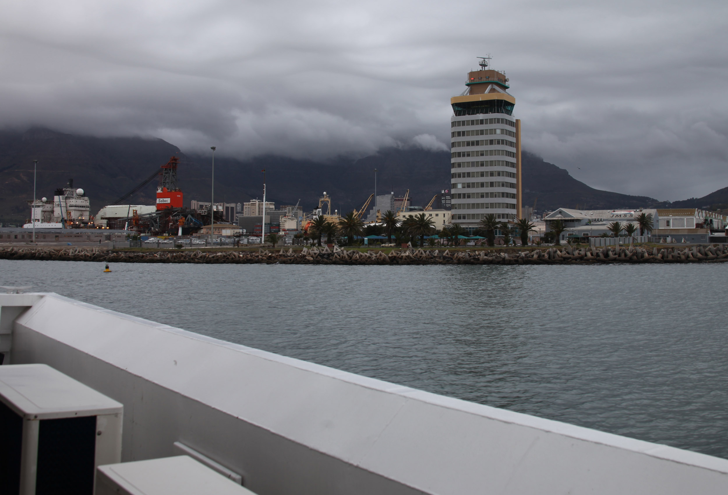 View of city and table mountain from the ferry