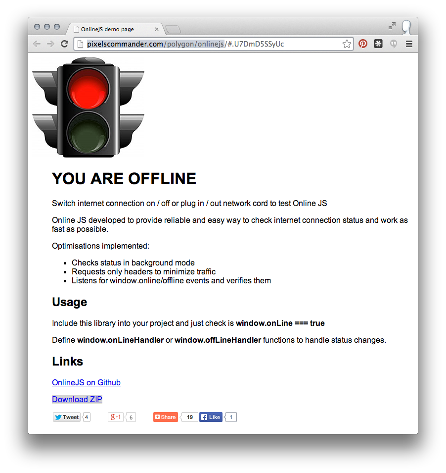 The OnlineJS page with Wifi turned off