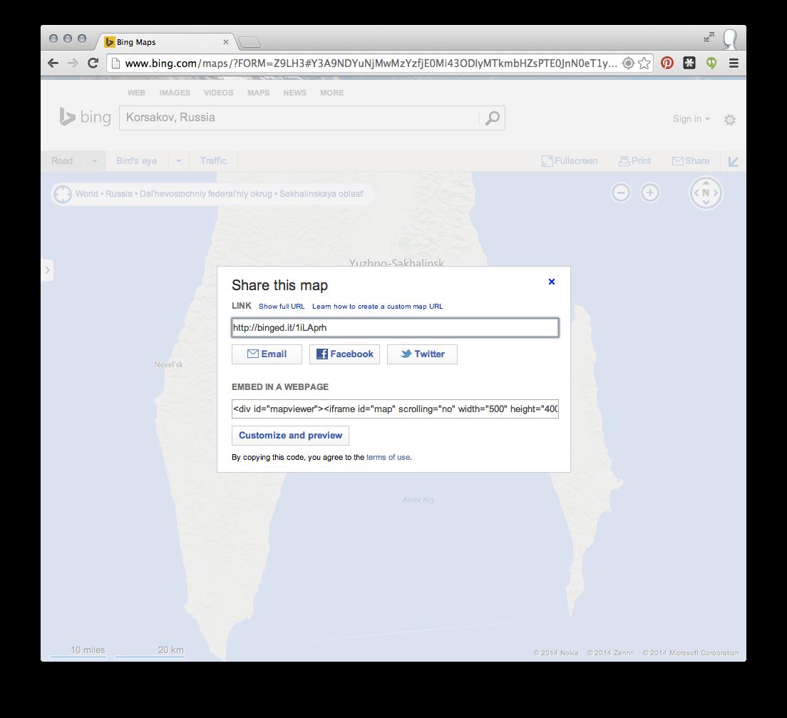 Sharing a Bing map