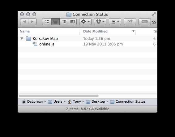 Renamed Connection Status folder with Korsakov Map folder containing online.js