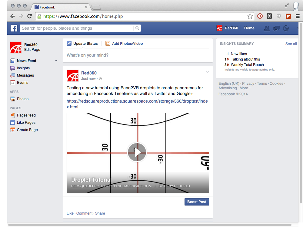 #13 Facebook page with Flash installed showing the preview image and a play button