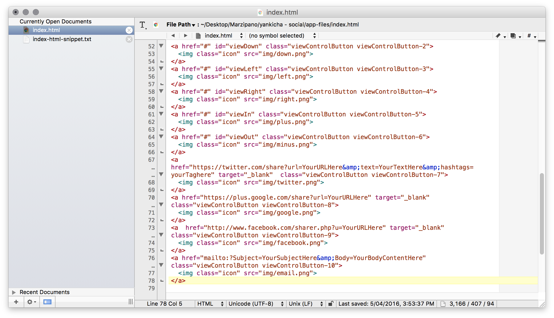 Paste index-html-snippet into the index.html document