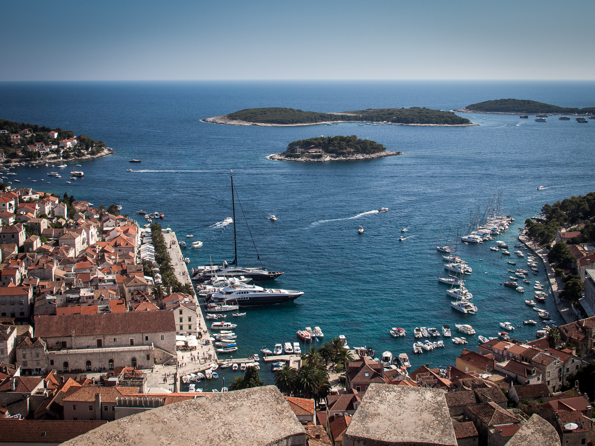 Hvar Town and Harbour from the old Fort