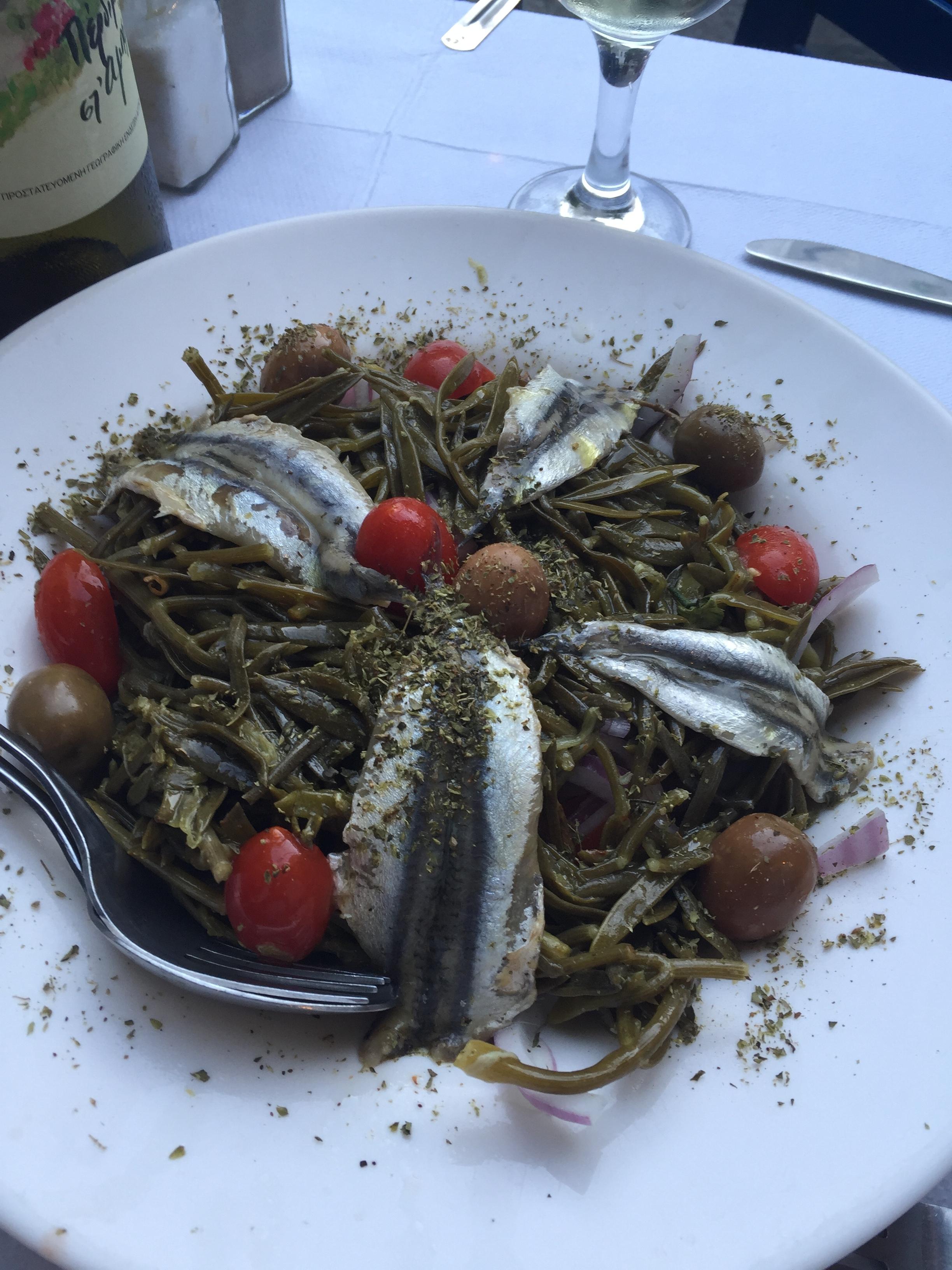 Sardines on seaweed