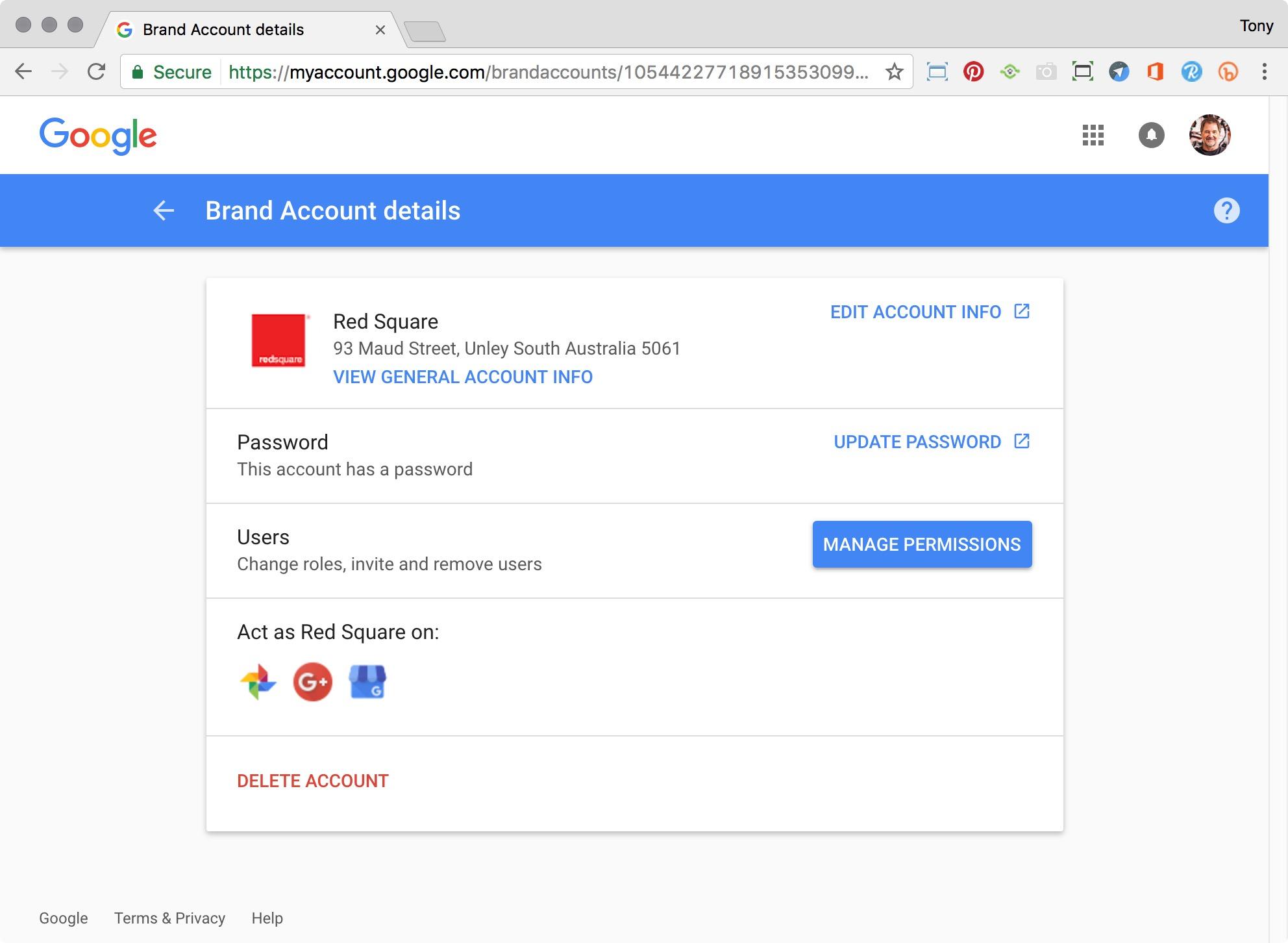 Google Brand Account details