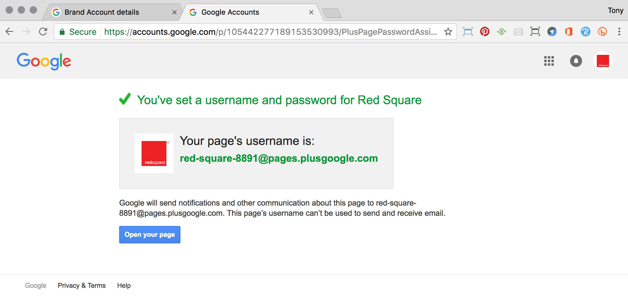 Username and Password notification page