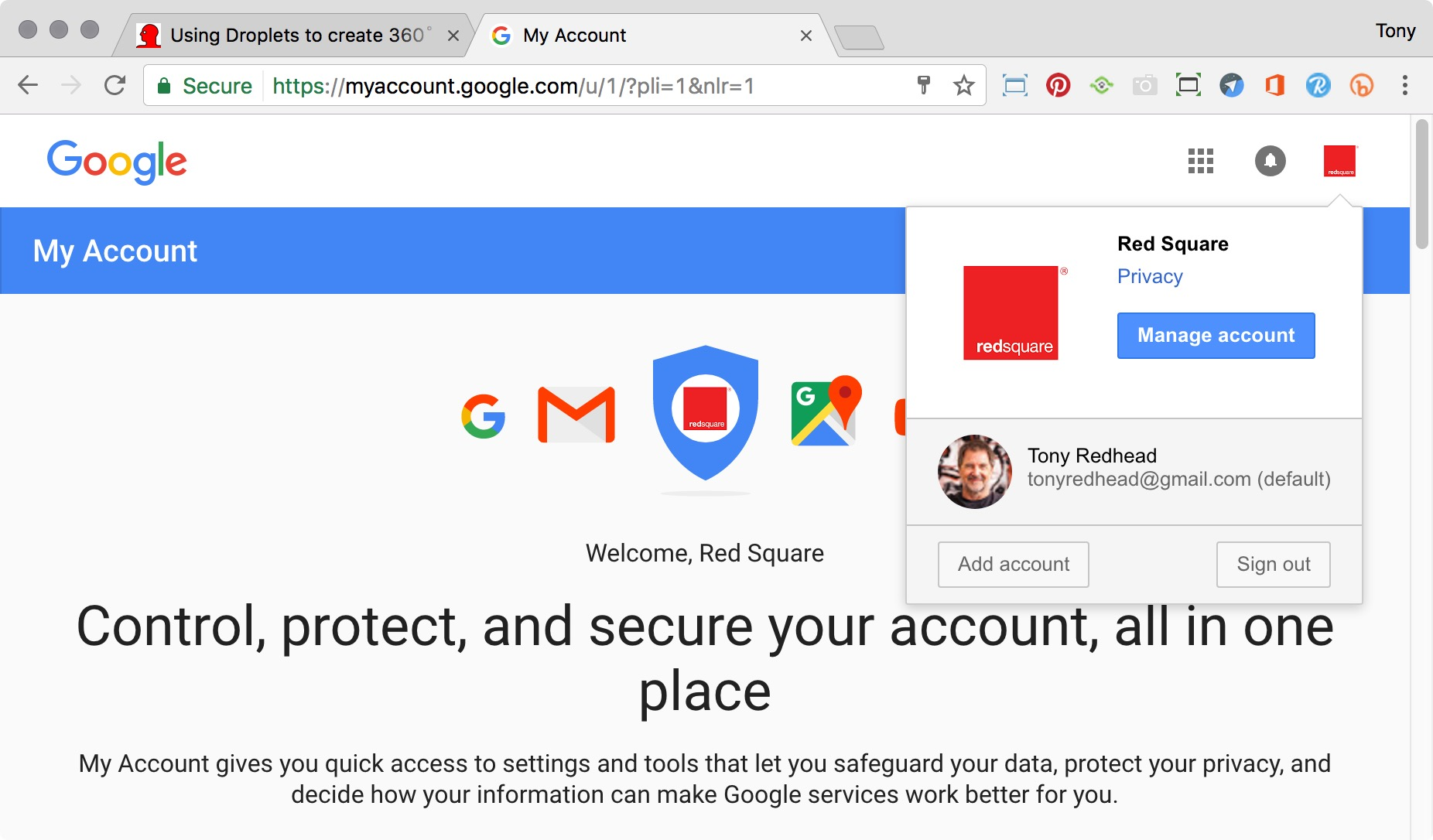Google page showing the two active accounts