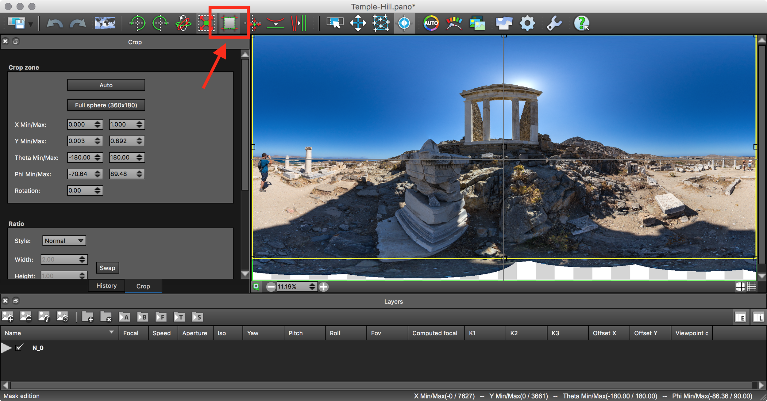 Edit window and Crop button