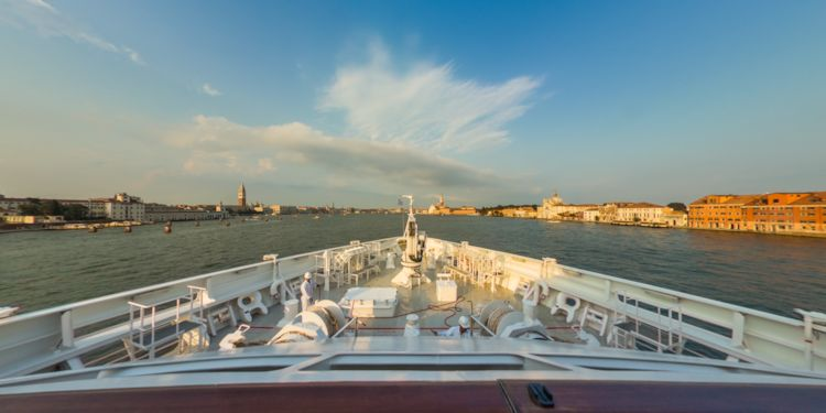 VA: Venice, Italy - Sailing the Grand Canal at sunset