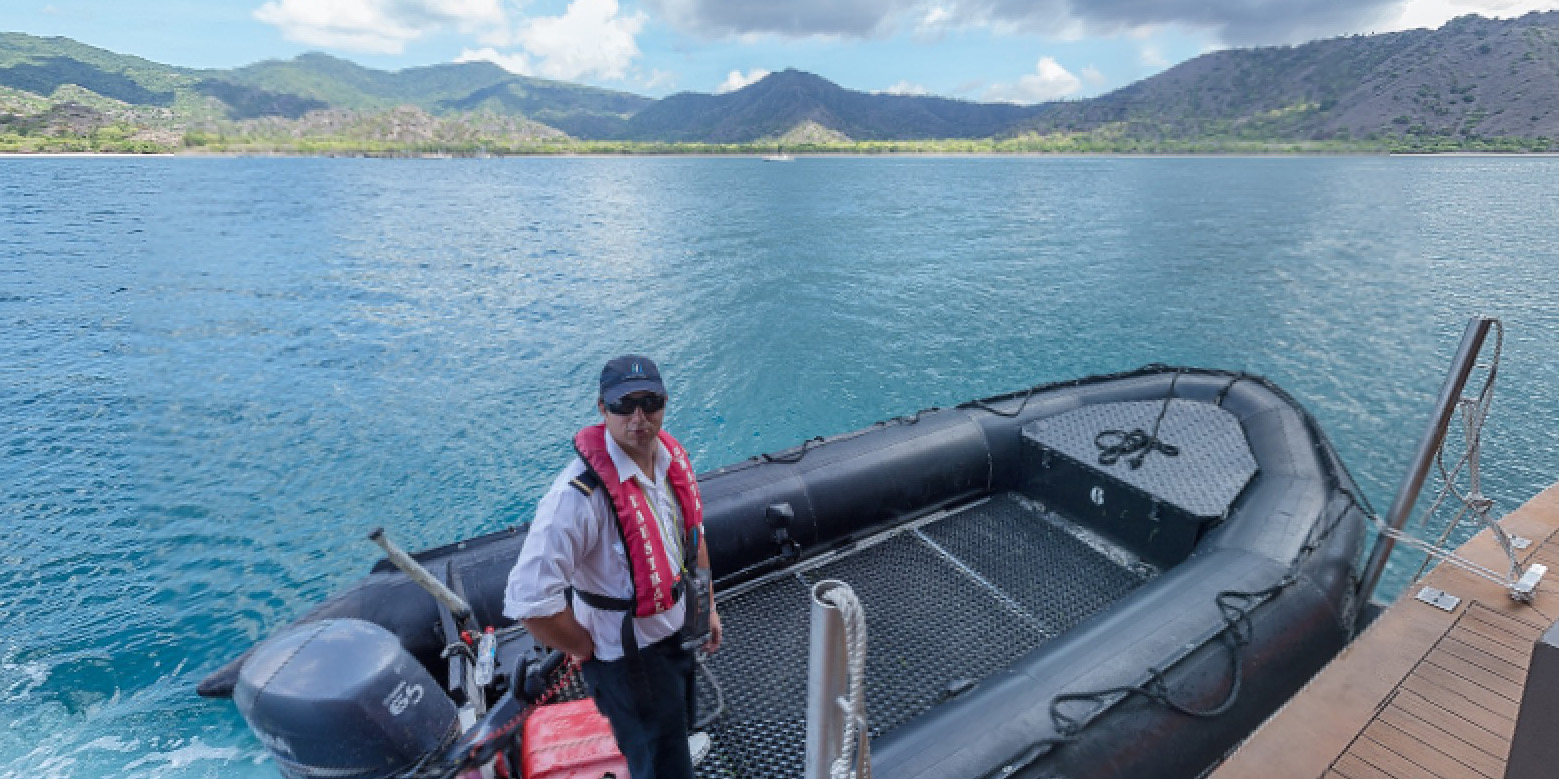 IN: Komodo Island - Zodiac departure from the Marine Deck