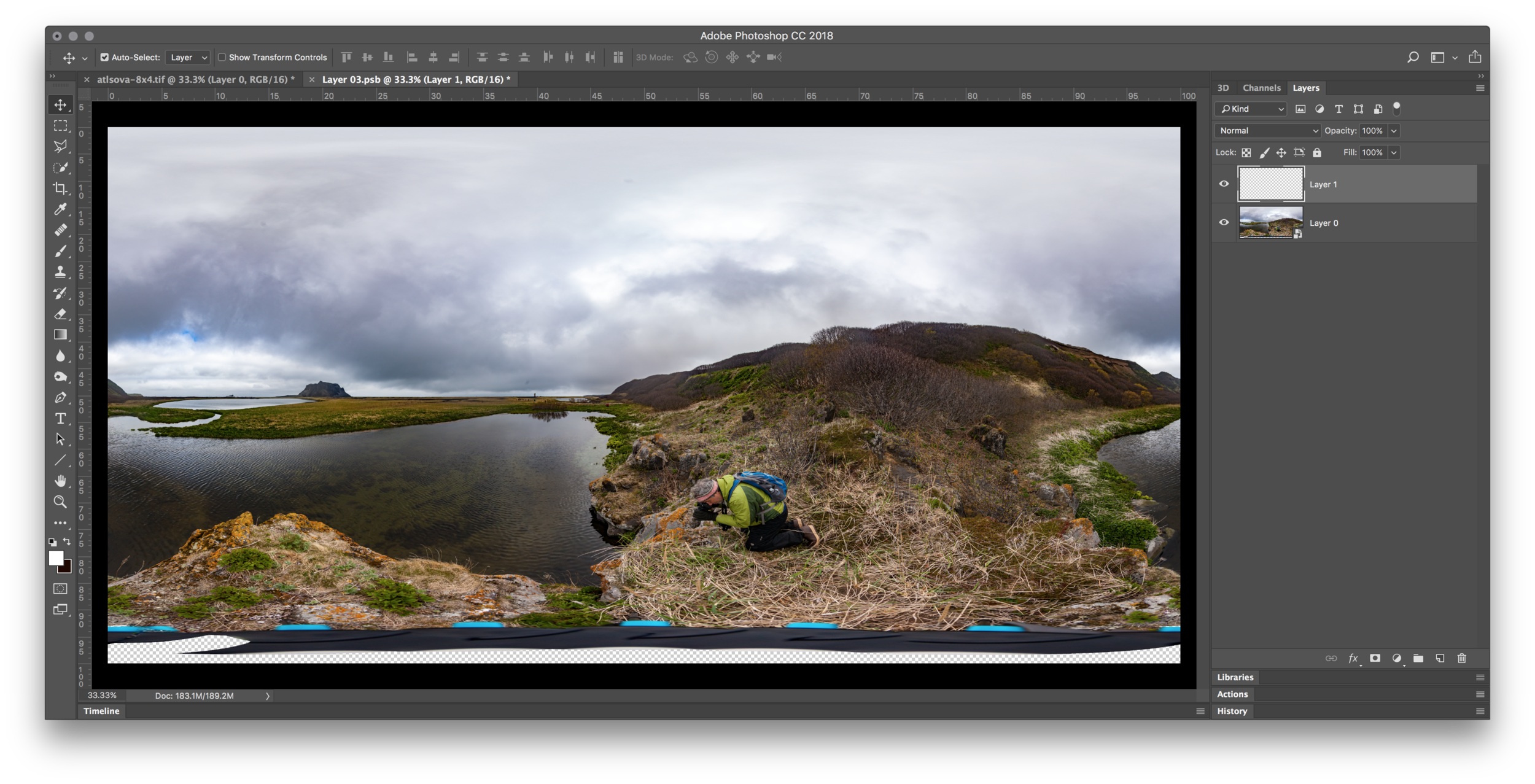 Image #3 - New layer added above the panorama layer
