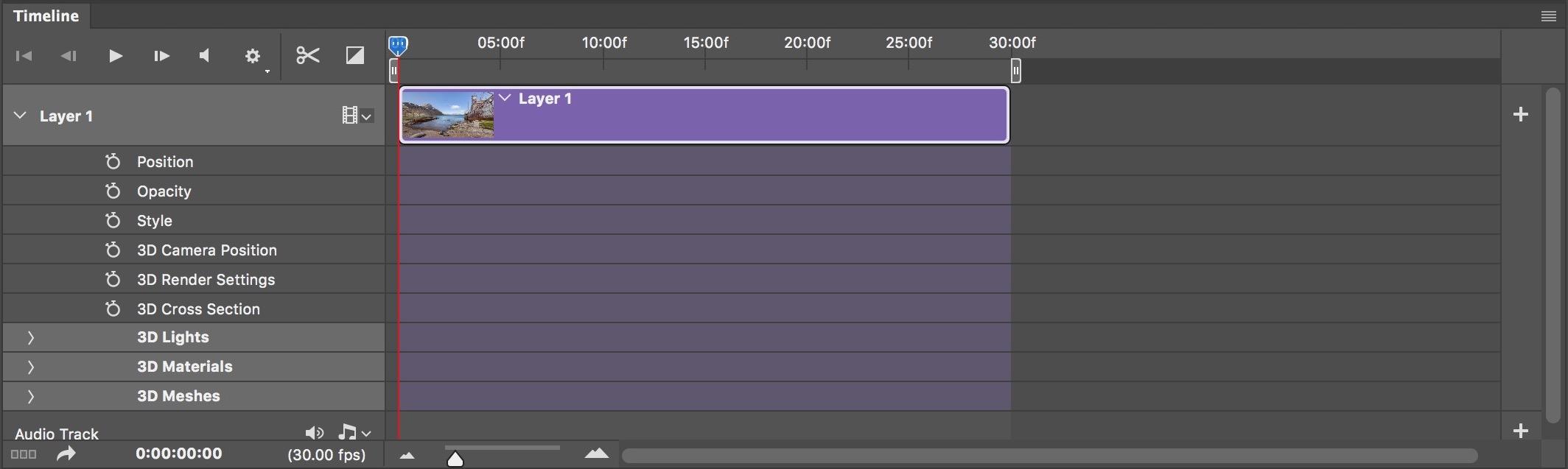 Figure #10 - Layer 1 Timeline Controls