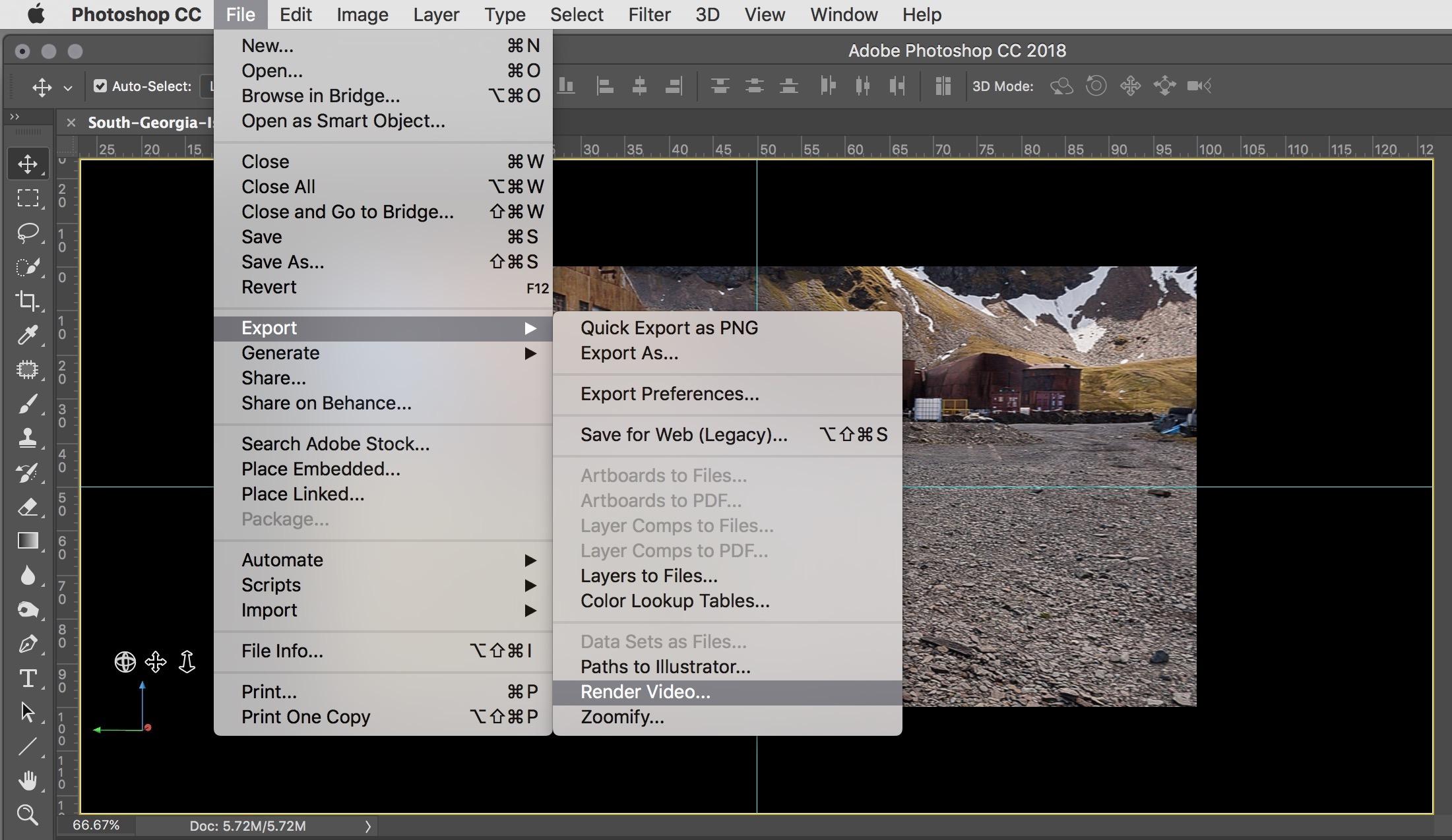 Figure #19 - Export/Render Video...