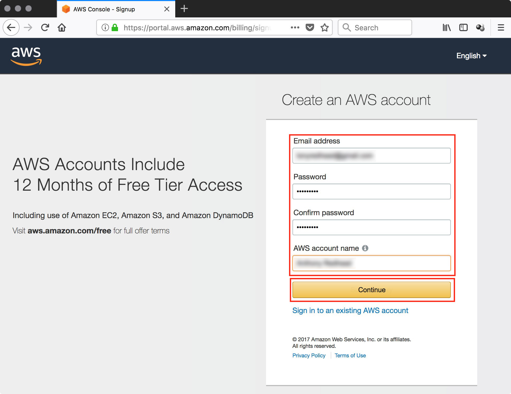 Create an AWS Account — tony redhead