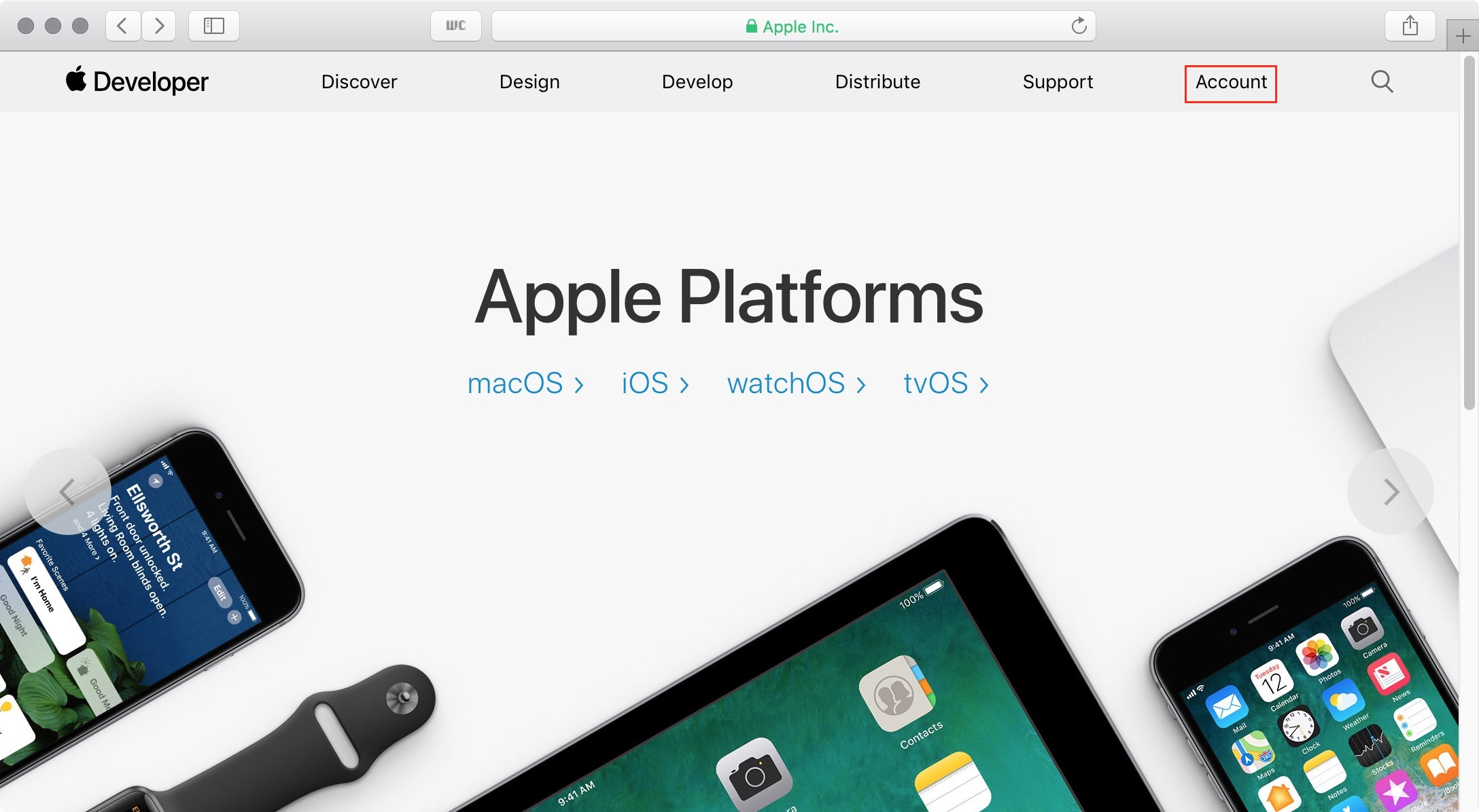 figure #1: Apple Developer Homepage