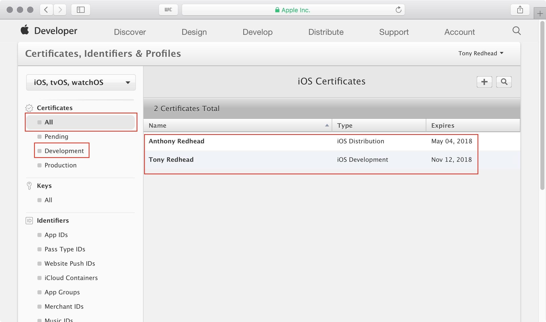 figure #4: iOS Certificates