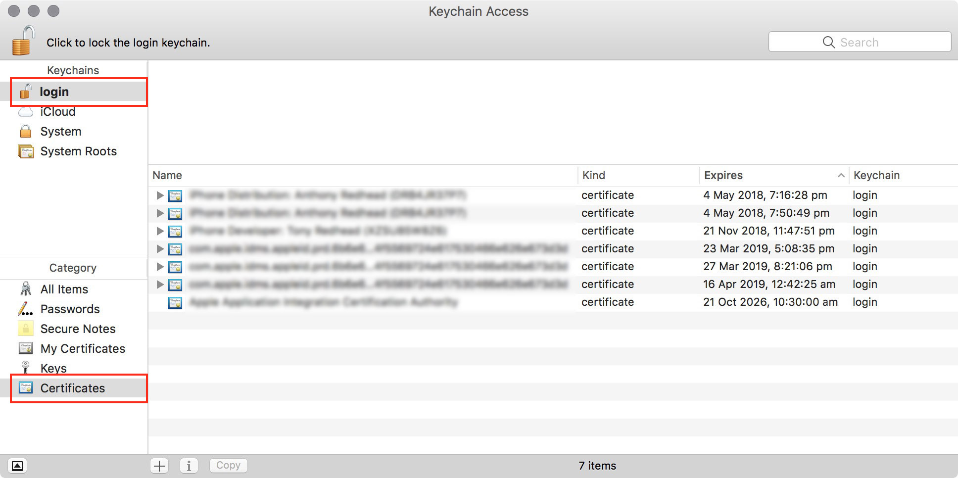 figure #8: Keychain Application