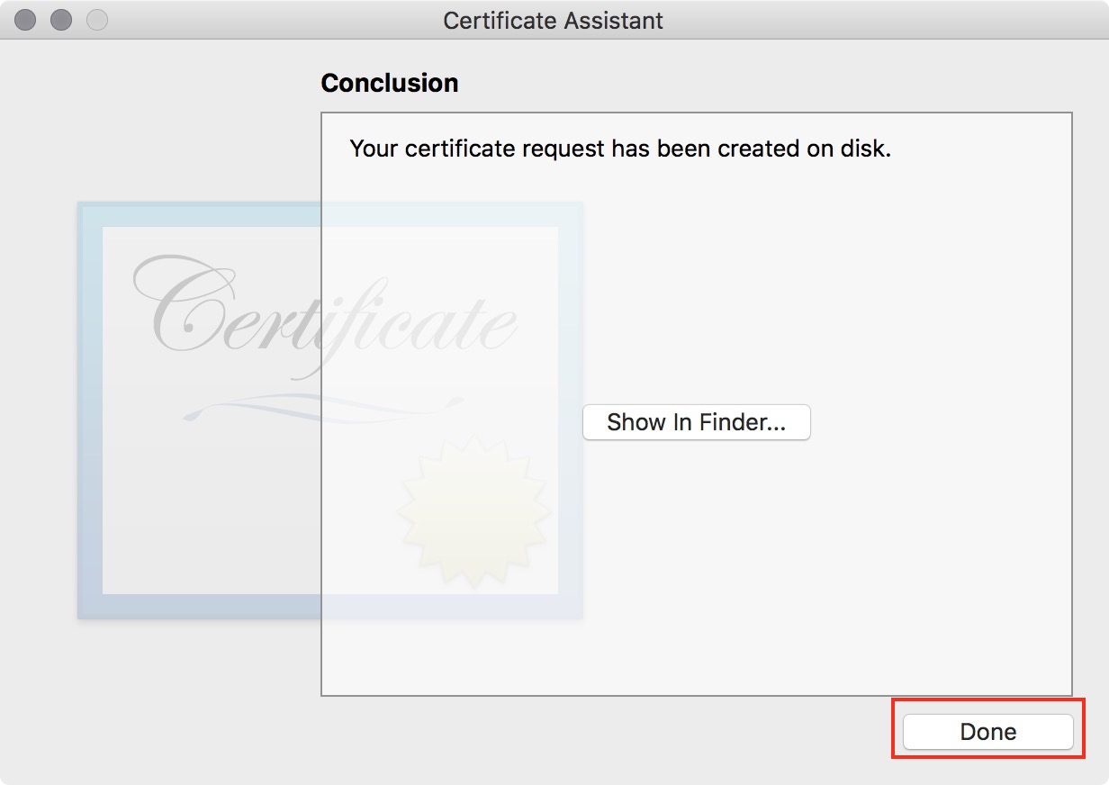 figure #14: After saving your certificate select 'Done'