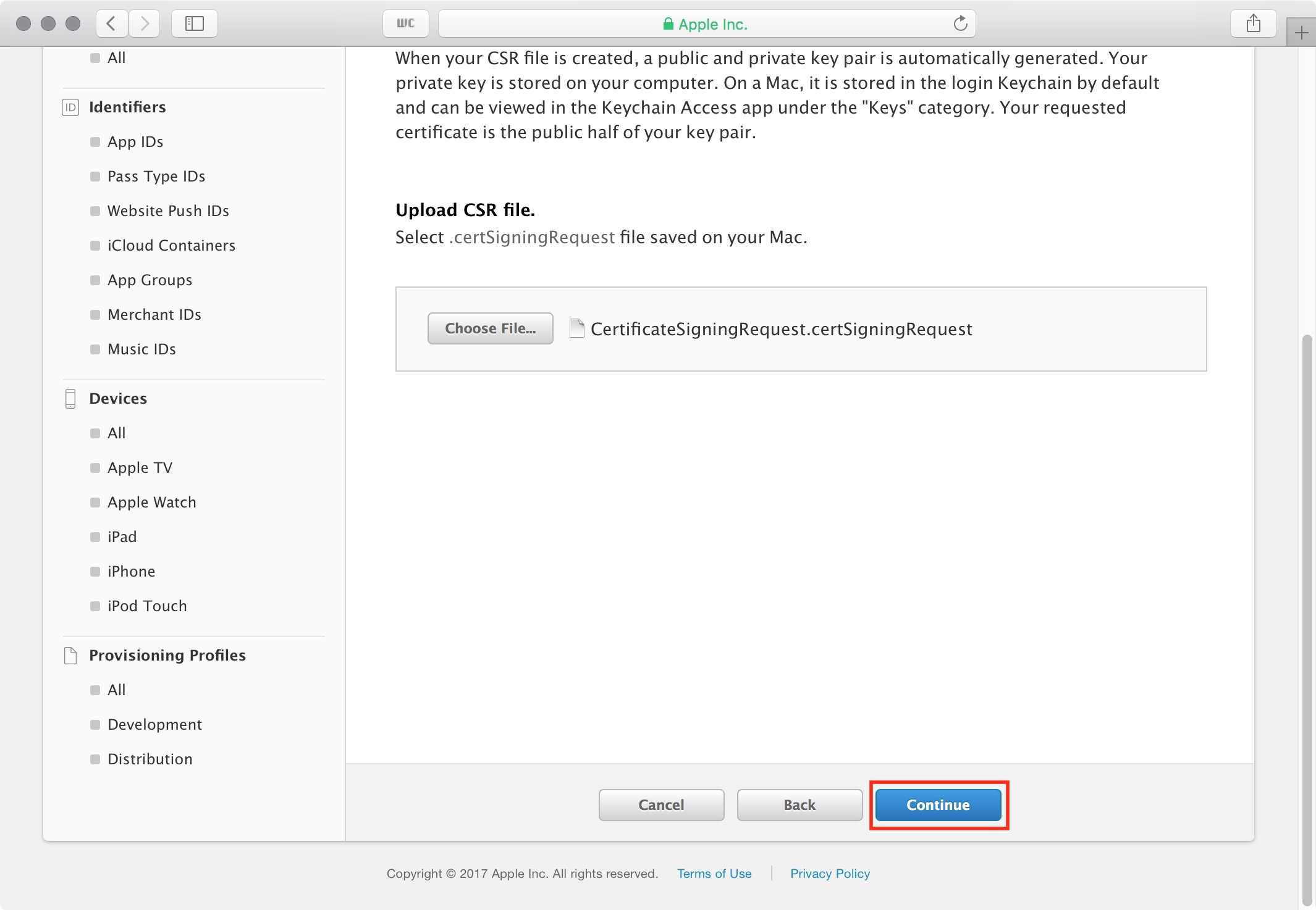 figure #18: Select Continue to upload the file