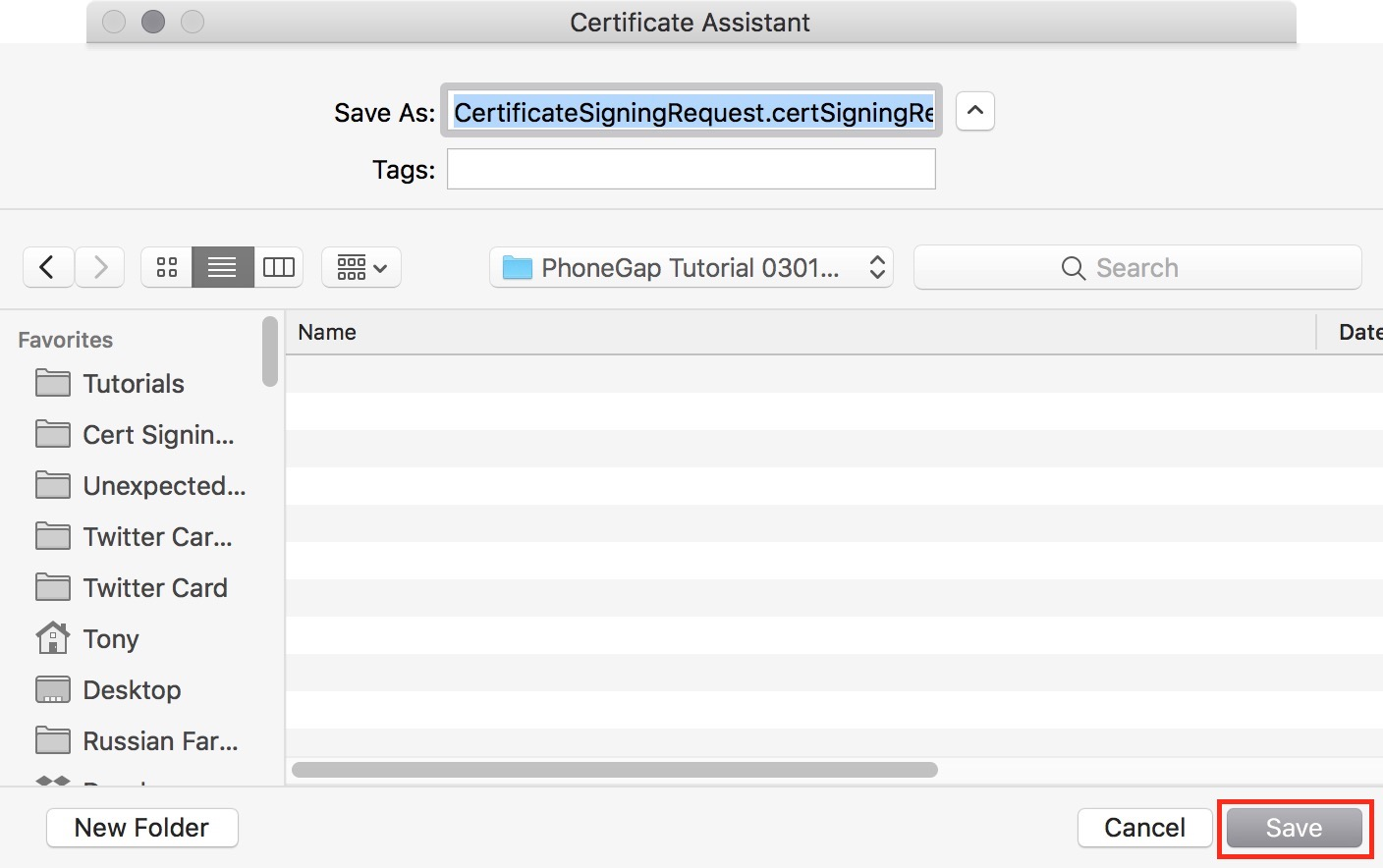 figure #13: Save the certificate to the new folder