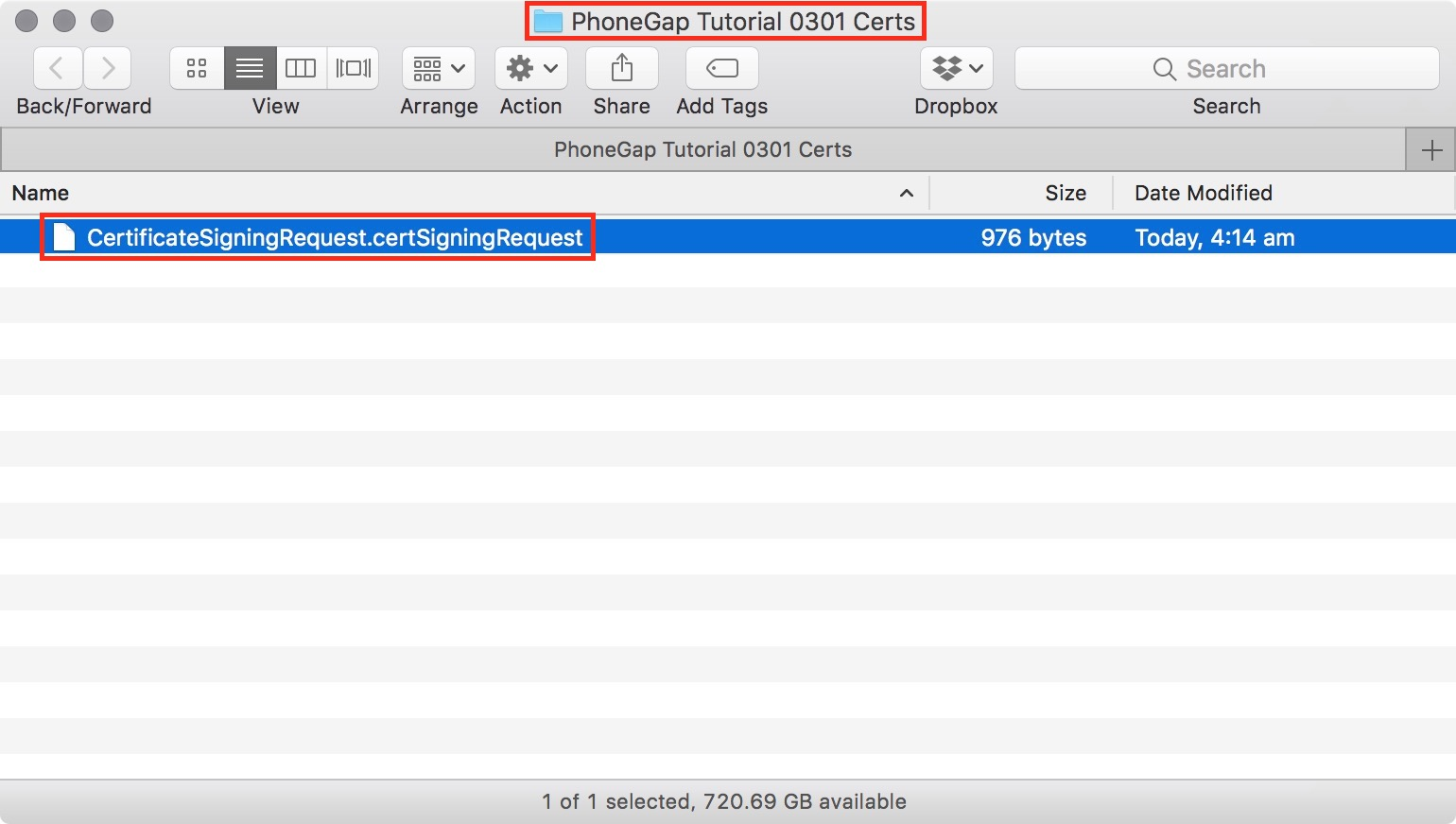 figure #15: CSR request file saved into your assets folder