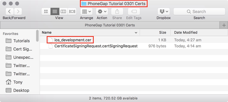 figure #21: The iOS Development certification copied into the assets folder