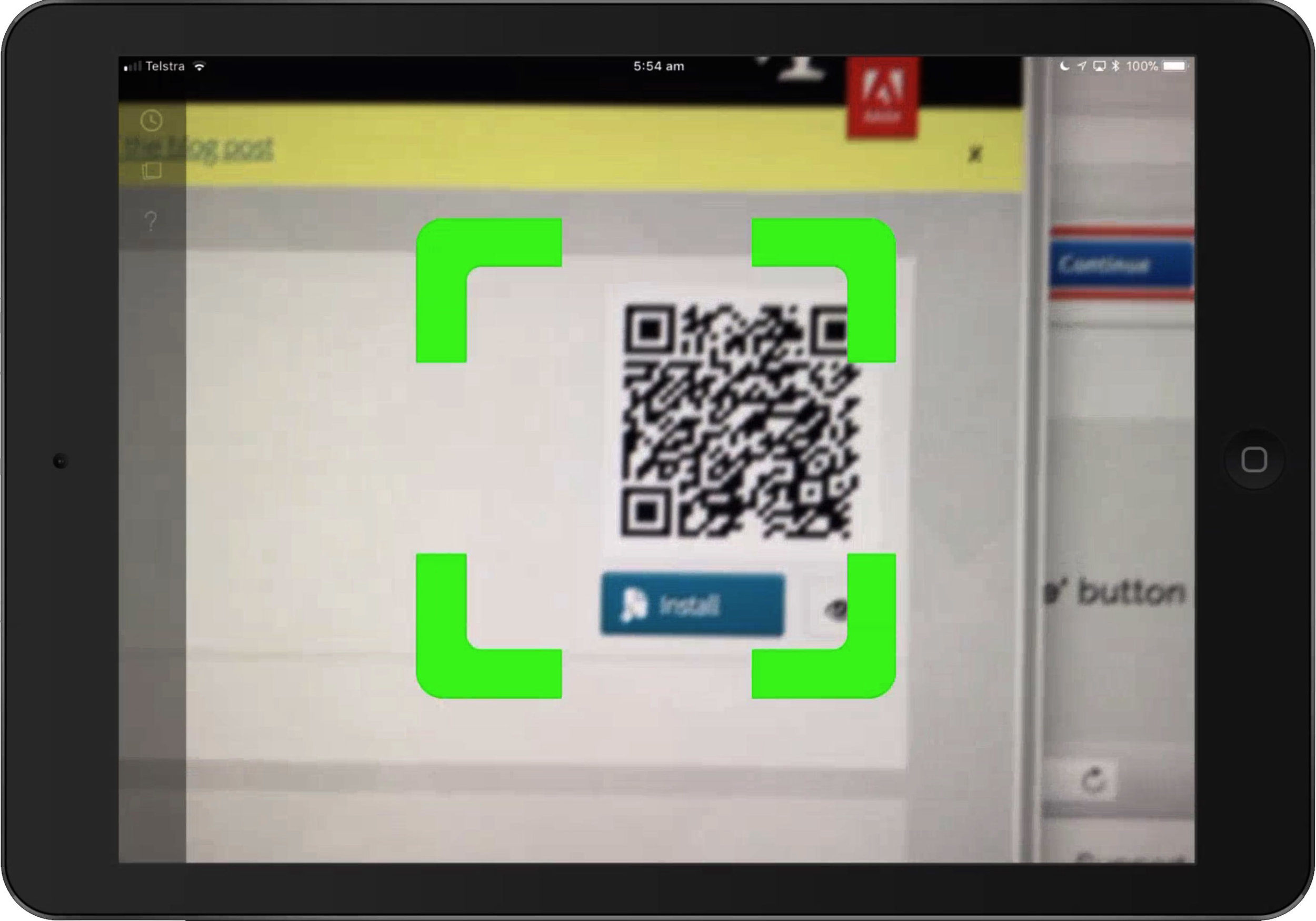 figure #16: QR scan on the iPad