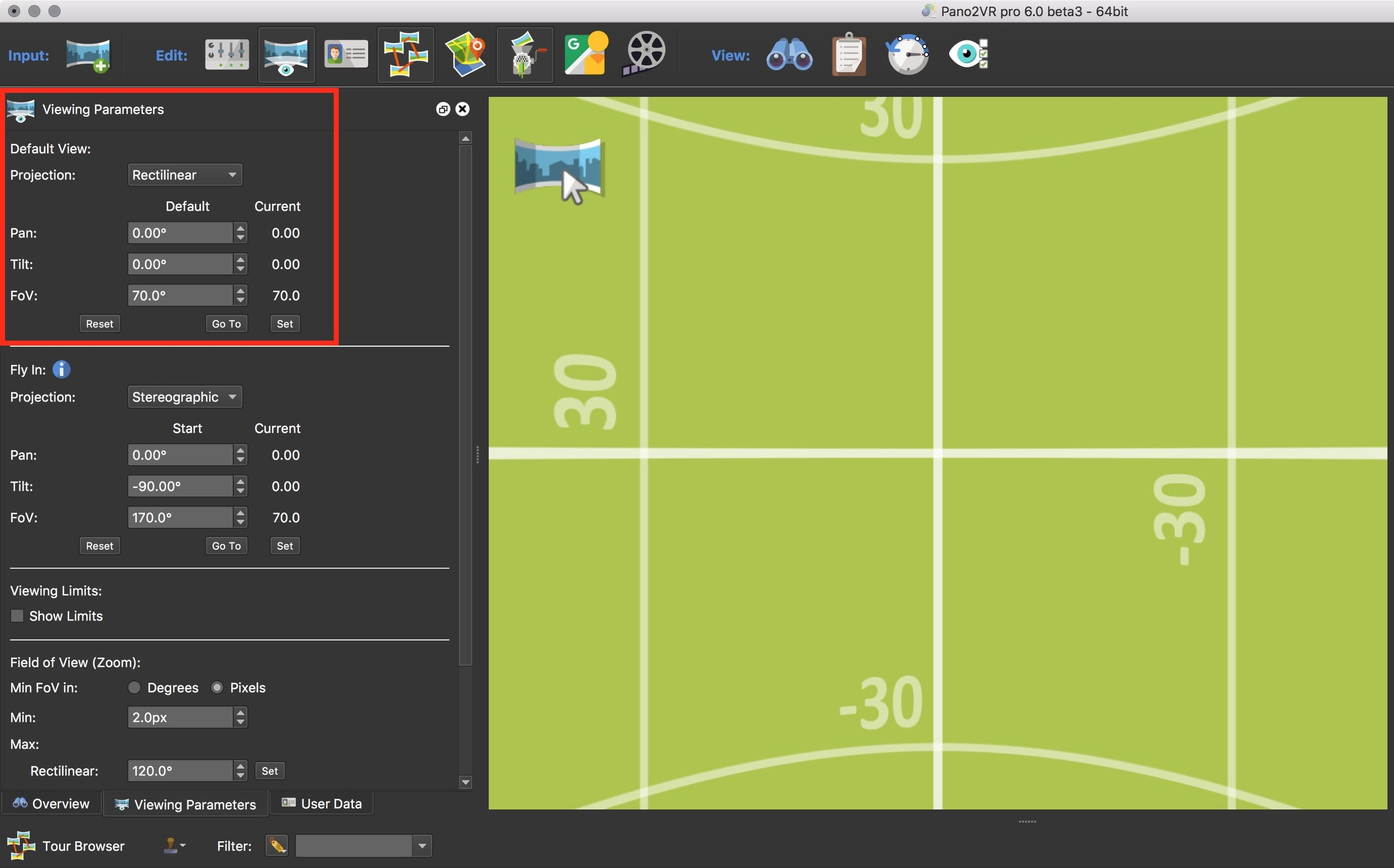Figure #3: Import Equirectangular image and set default view
