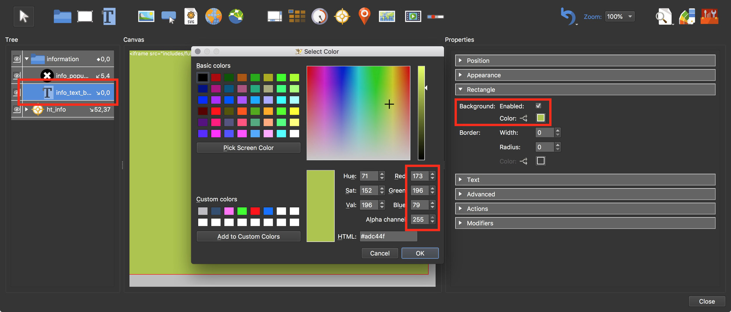 Figure #30: Assign a background color to the info_text_body element