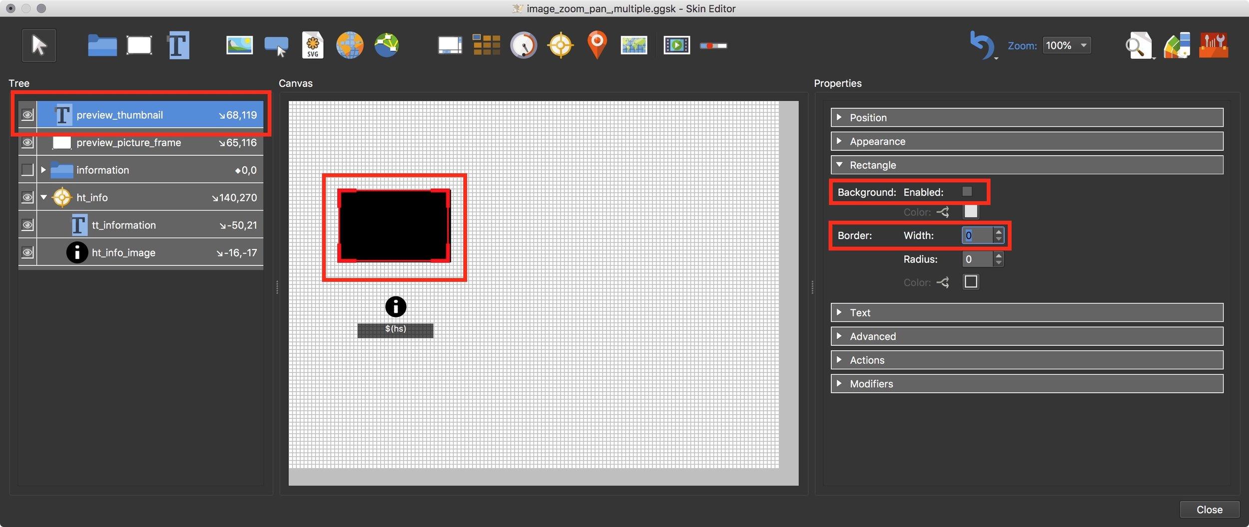 Figure #20: set rectangle properties