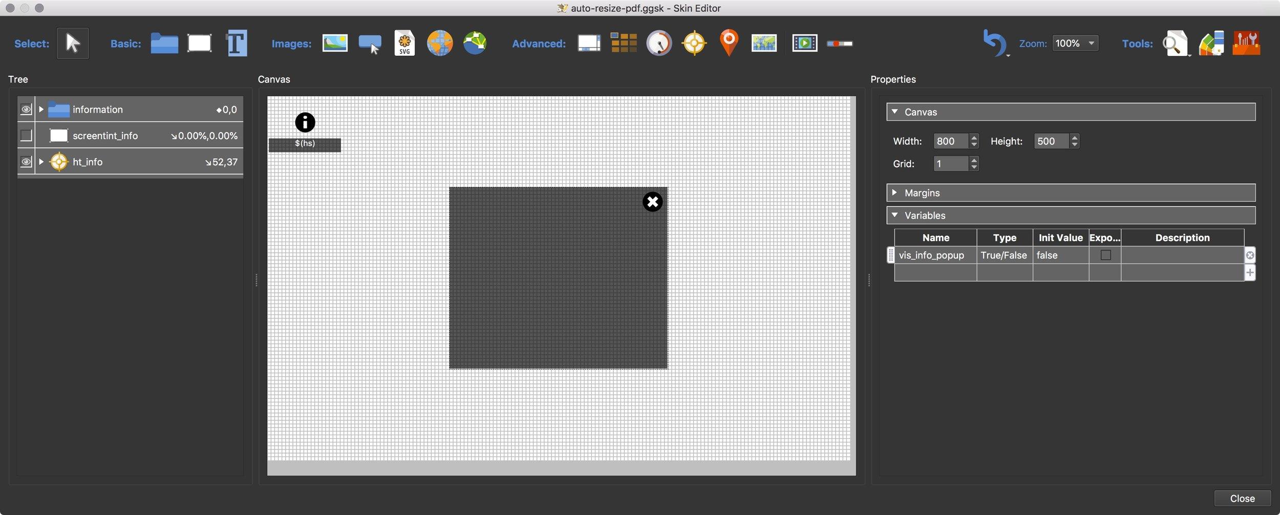 Figure #3: Skin Editor and auto-resize-pdf.ggsk tutorial skin