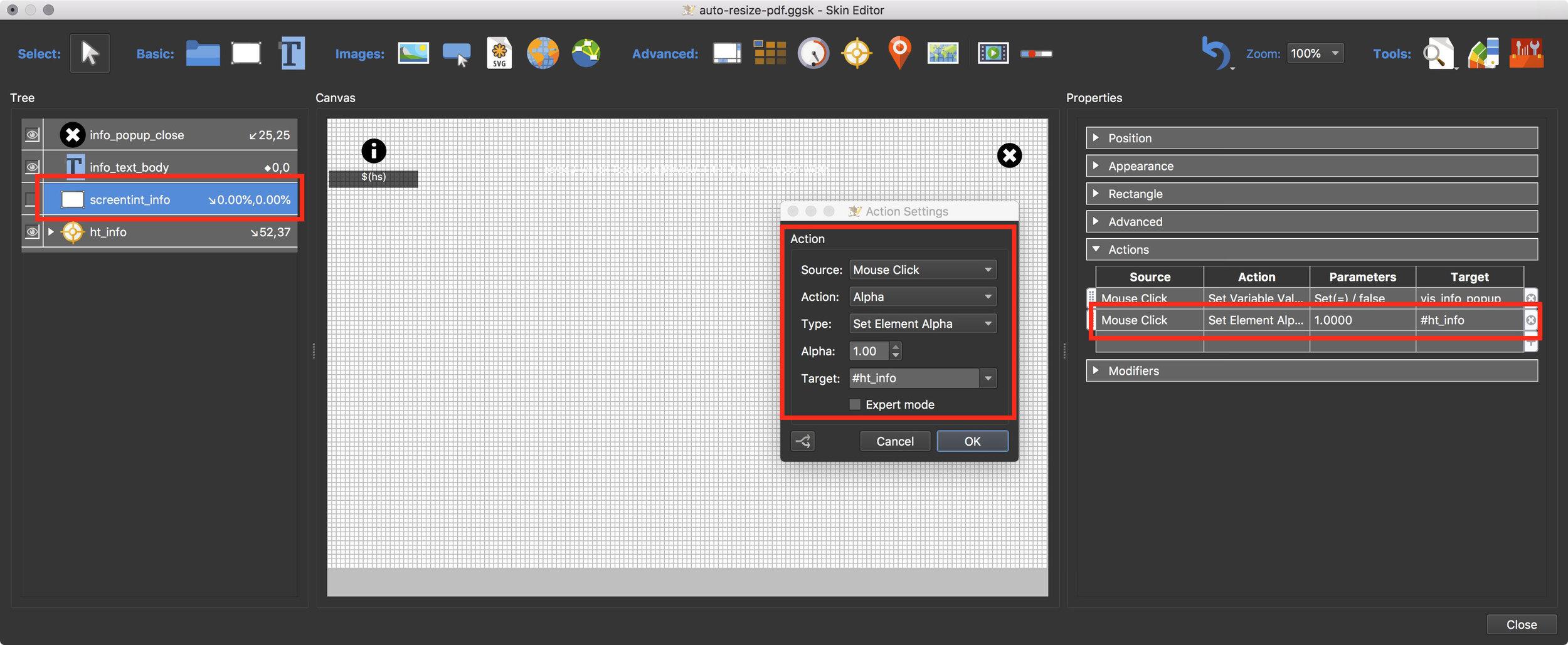 Figure #21: New 'screentint_info' action