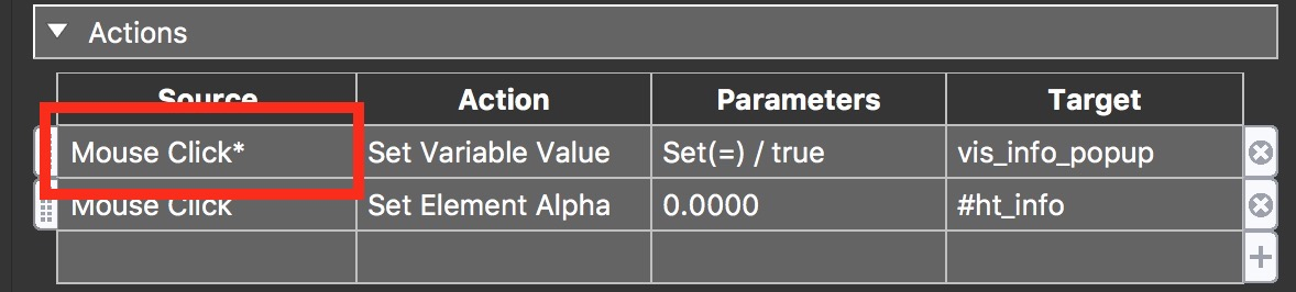 Figure #30: Action Filter applied to Mouse Click | Set Variable Value action