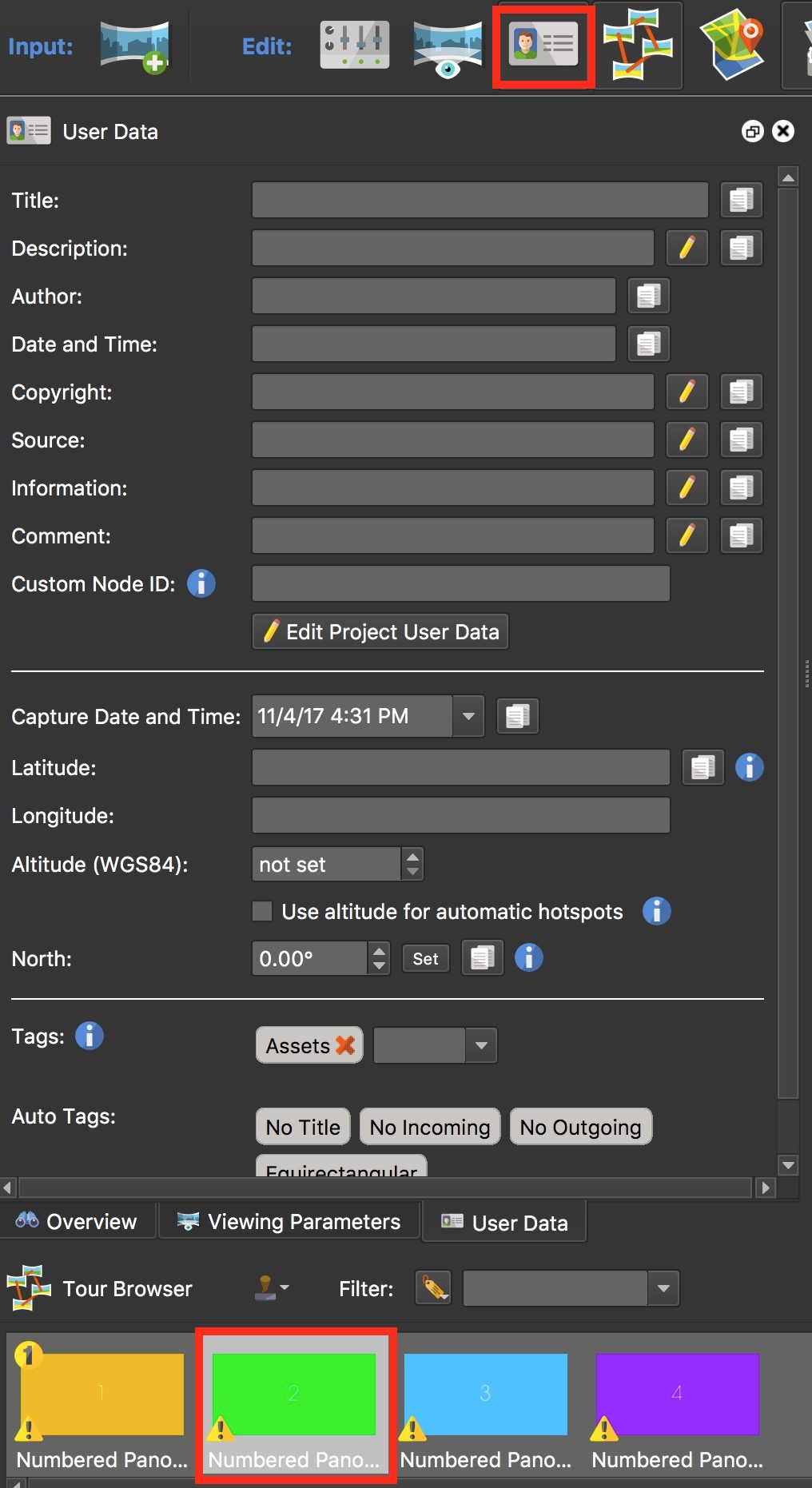 Figure #2: First panorama selected and User Data panel open