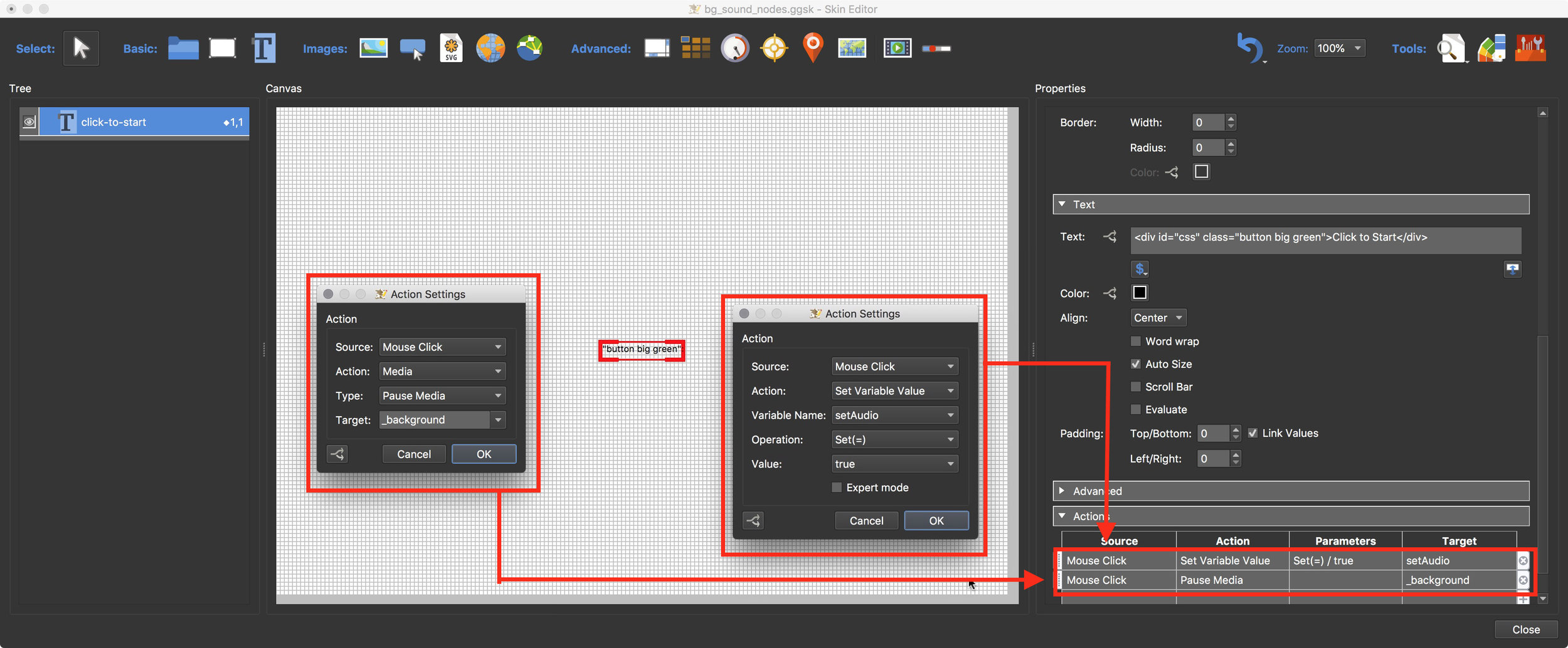 Figure #18: Setting Mouse Click actions