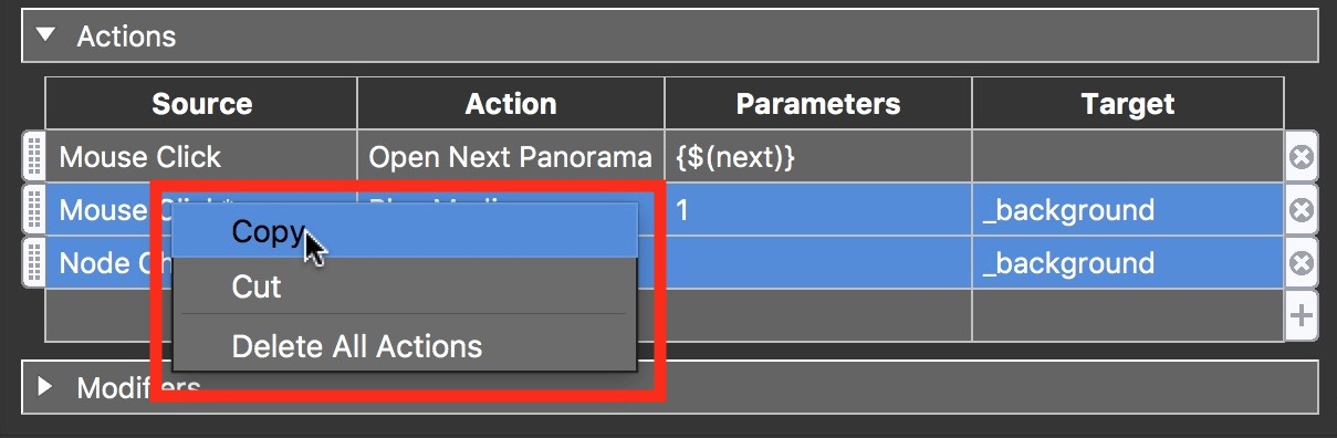 Figure #28: Shift select both actions, rt click and select copy