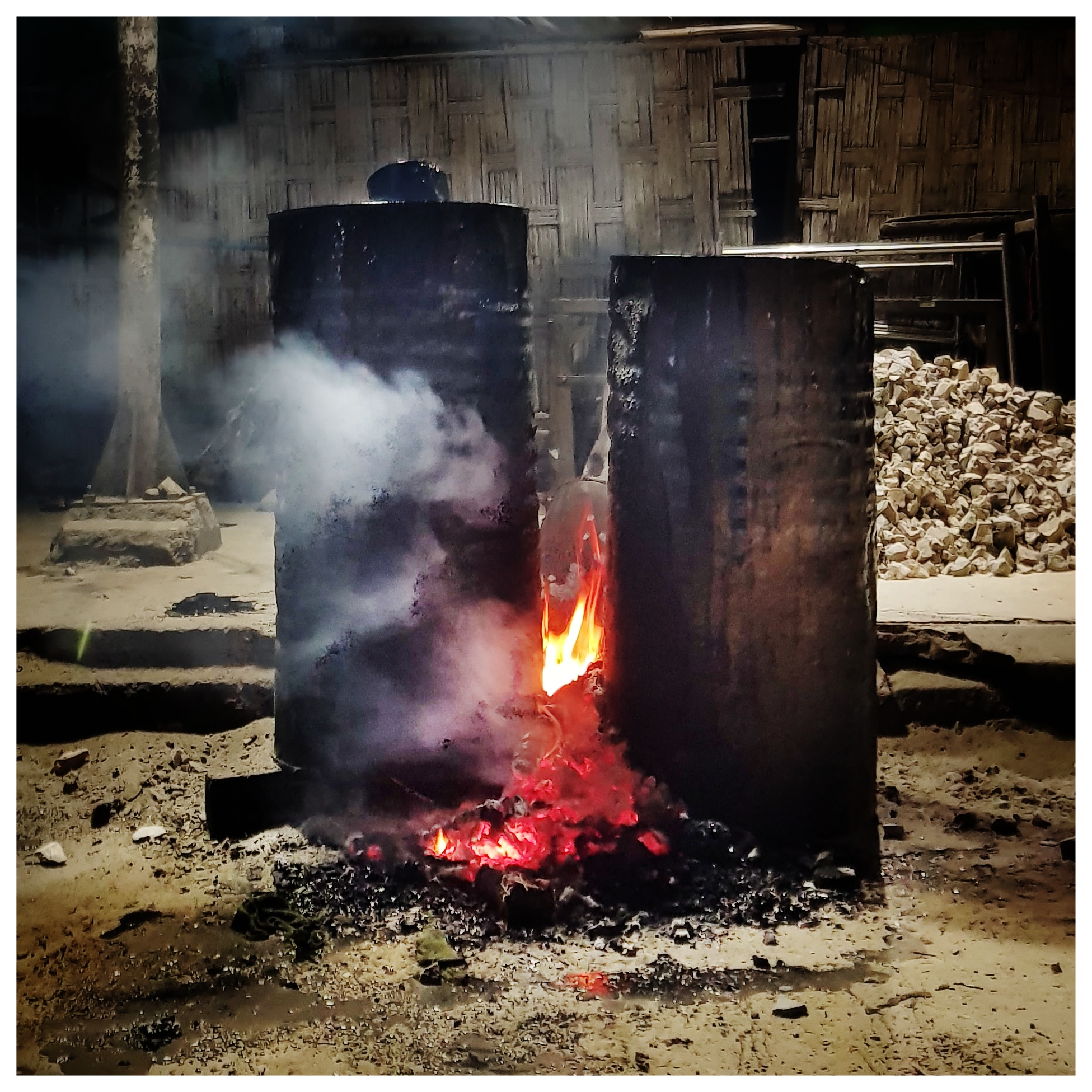 Heating the tar