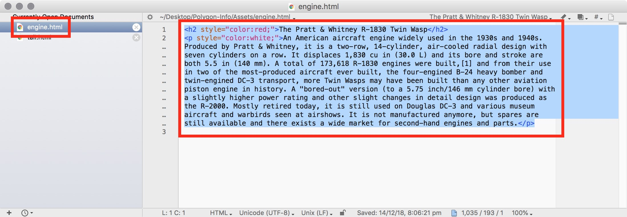 Figure #4: engine.html opened in Text Wrangler